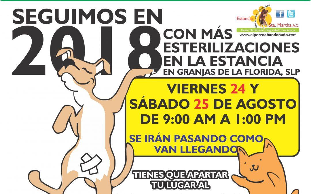 ESTERILIZACIONES A BAJO COSTO 24 Y 25 DE AGOSTO DE 2018