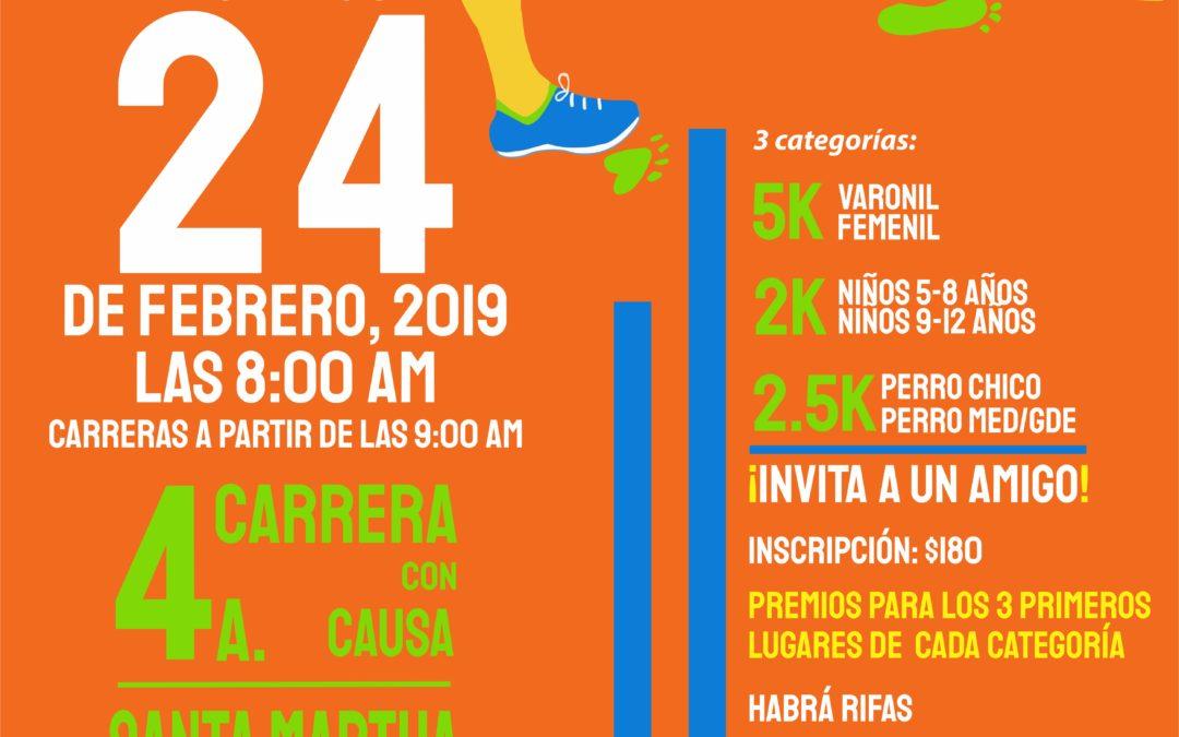 """¡Participa en la 4a. CARRERA CON CAUSA """"SANTA MARTHA"""" EN EL CAMPO!"""